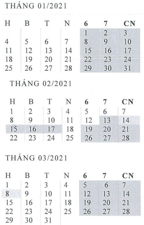 lịch dự kiến năm 2021