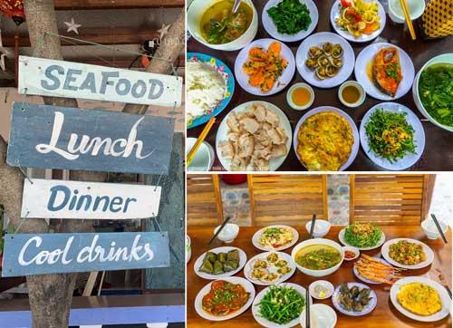 Ăn trưa 10-12 món tươi ngon tại các nhà hàng ven biển